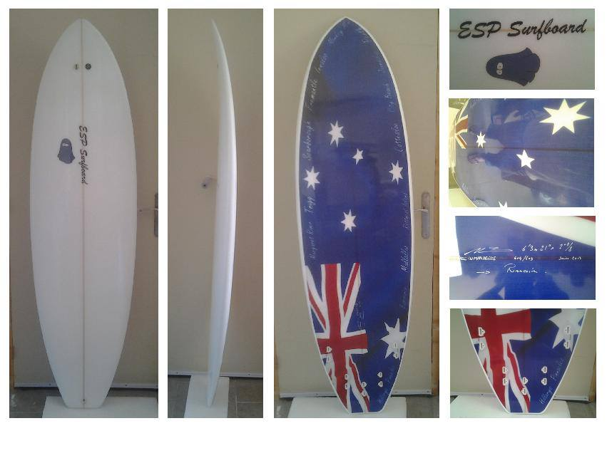 Gallery of custom surfboards, with custom graphics using surf