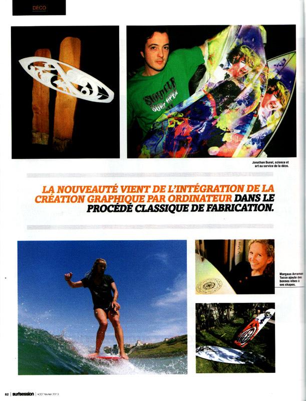 Publication de Surf Designs dans surf session, page 82, Février 2013