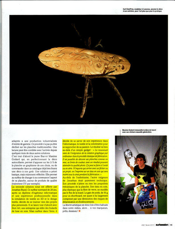 Référence à Surf Designs dans l'article page 83 !